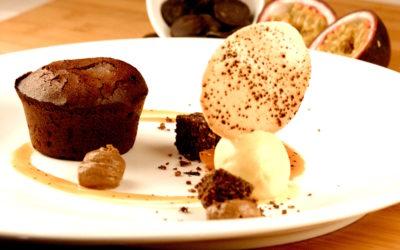 Moelleux chocolat Côte d'Ivoire, Caramel Maracuja parfumé au poivre Timut