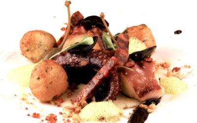 Poulpe rôti, chorizo, Onctuosité d'haricots blancs à l'ail noir d'Aomori