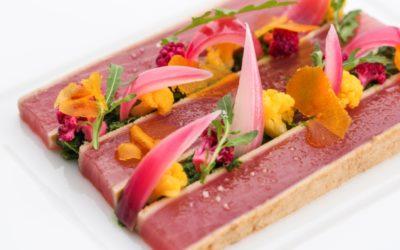 Thon Saku au vinaigre de bonite et choux multicolores