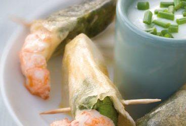 Croustillants de Crevettes et Epinards